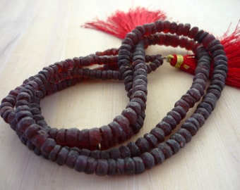 Pretty rough garnet rondelle beads 2-4.5mm 1/2 strand