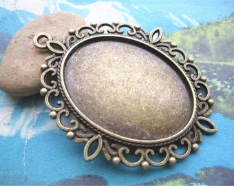 10pcs 60x50mm antiqued bronze filigree  flower oval bezel pendant blanks(40x30mm cahochon size)