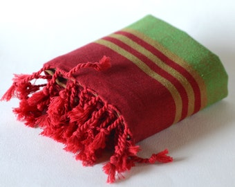 handwoven peshtemal, turkish towel, bath & beach towel,  red and green, striped, for yoga, for sport, spa towel