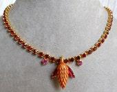 Vintage RED Rhinestone Choker Necklace