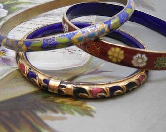 3 Vintage Cloisonne Bangle Bracelets Lot