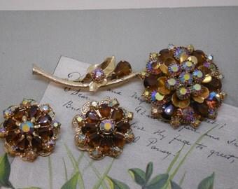 KRAMER Amber Flower Brooch & Earrings Set Gold and Aurora Borealis