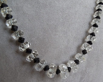 Art Deco 1920s Black & Clear Crystal Bead Necklace