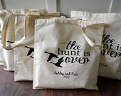 10+ The Hunt is Over Custom Canvas Wedding Tote Bags - Eco-Friendly Natural Cotton Canvas