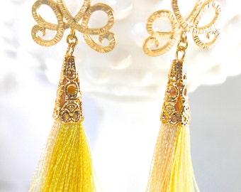Yellow Tassel Earrings - Gold Plated Drop Dangle Yellow Tassel  - Wedding, Beach, Bridal, Boho, Bridesmaid,