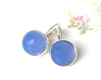 Periwinkle Blue Round Glass Silver Drop Earrings - Wedding, Bridal, Beach, Bridesmaid, Pastel