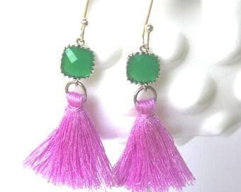Purple Tassel Jade Green Jewel Drop Dangle Earrings - Silver, Wedding. Bridal, Bridesmaid, Beach