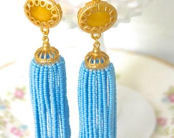Yellow Jade Blue Tassel Earrings Gold Plated Scalloped Drop Dangle Earrings - Wedding, Bridal, Bridesmaid, Beach, Statement Earrings, Preppy