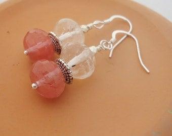 Clear and Cherry Quartz Earrings Quartz Dangle Earrings Clear and Pink Earrings Simple Earrings Gemstone Earrings