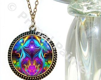 "Violet Flame Necklace, Soulmate Pendant, Unique Reiki Jewelry 'Twin Flames Heart"""