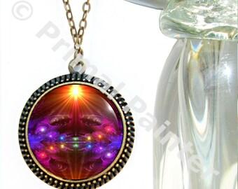 "Rainbow Chakra Art Necklace, Reiki Attuned Energy Jewelry ""Protector"""