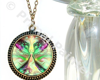 "Pastel Green Yellow Jewelry, Reiki Attuned Angel Pendant Necklace ""Growth"""
