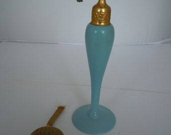 Antique DeVilbiss Perfume Atomizer Perfume Bottle Opaque Robin Egg Blue Silver Etched