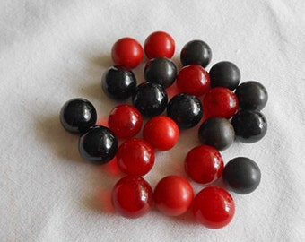 23 BLACK & RED GLASS Marbles Mixed Bag, Game Pieces or Collectibles, Summer Childrens Toy, Terrarium Aquarium, Vase Embellishment, Boho Chic
