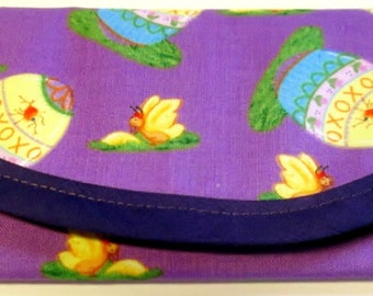 Bags & Purses Easter Egg Hunt Purple fabric, 7 x 3 Wallet Money clip Envelope Clutch xoxo hearts butterfly lined same