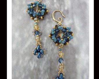 Women's Hand Beaded Dangle Earrings-398 Women's Blue and Gold Dangle Earrings, Women's Earrings, One of a Kind, Hand beaded earrings