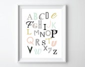 ABC Poster print - Panda- Nursery Alphabet, ABC wall art, Nursery Decor, kids room wall art, alphabet art -11X14
