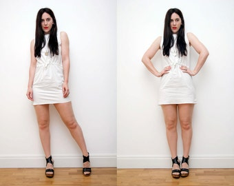 Vintage White Cotton Simple Grunge Revival Mini dress