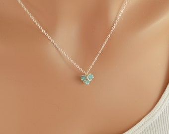 Sterling Silver Necklace, Apatite Gemstone, Aqua Blue Stone, Adjustable Length, Simple Dainty Jewelry, Free Shipping