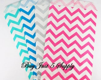 25 Chevron Paper Gift Bags... 4 color choices ... Fill With Candies, Soaps, Jewelry, Pendants, Shower Favors, Wedding Favors, More...