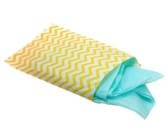 6 x 9 Chevron Yellow, Turquoise, or Silver Gray and White Paper Gift Bags - 50 for You - For Candies, Soaps, Shower WeddingFavors, Jewelry