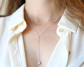 Minimalist Sparkle Crystal Y Lariat Necklace // 14K Gold Filled and Sterling Silver