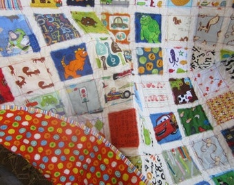 I Spy... Baby Boy/Toddler Fray Edge Quilt.....Ready to Ship...Shower Gift