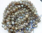 "8mm  Flashy Labradorite  Round beads , FULL STRAND (16""), nice quality"