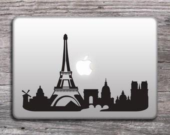Paris and the Eiffel tower skyline sticker, vinyl decals for laptop, MacBook stickers, cities decals - 144