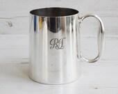Vintage Silver Plate Tankard - EPNS Beer Monogram One Pint Drinking Jug Cup Pub Bar Ware