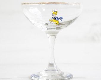 Vintage babycham drinking glass deer champagne gold rim