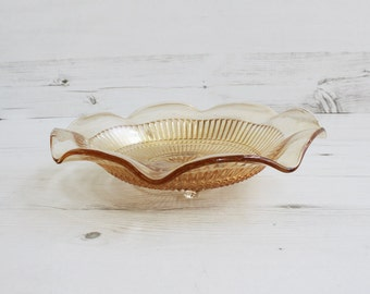 Vintage Amber Bowl - Carnival Glass Orange Honey Shiny Trinket  Bon Bon Dish Decor