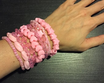 9 Bracelet PINK Color Bundle