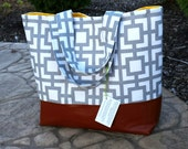 Gray squares diaper bag, large gray diaper bag leather market tote bag gray chevron leather bottom