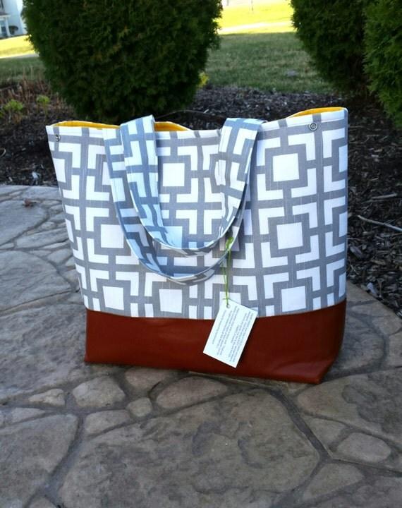 Gray squares diaper bag, large gray diaper bag leather market tote bag gray chevron leather bottom