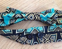 Aztec / Tribal Bow Tie / Dickie Bow - Dapper Gent Chap Handmade Fabric Party Fun Kitsch  80's