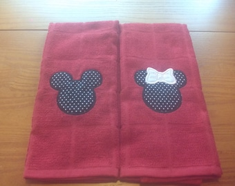 Mickey and Minnie Mouse Red Embroidery Dish Towel Set