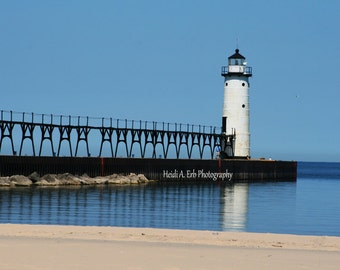lighthouse photography, lighthouse photo, Manistee lighthouse, Michigan lighthouse, blank notecard, landscape photography, beach photography