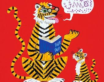 Tiger Tales - Red - Childrens Animal illustration - Tigers Poster - Nursery Decor - Print by Oliver Lake - iOTA iLLUSTRATiON