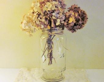 Vintage Mason Jars, Vase, Kerr Wide Mouth Jar, Rustic, Farmhouse, Set of 2