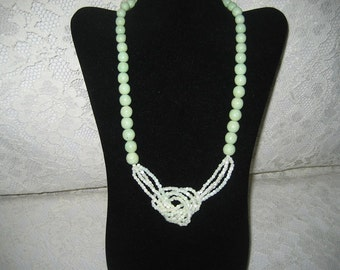 MINT GREEN SUMMER  Necklace - Pearlized light green glass beads & large plastic beads