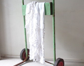 Rustic Metal and Wood Trolley in mint green - PICK UP ONLY