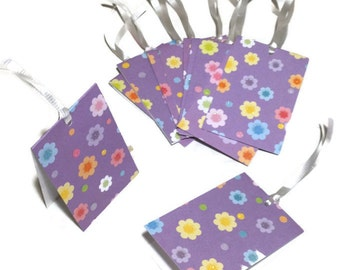 10 Pieces Gift Tags Floral print 2in.x3in. Folded Cardstock Handmade Hand-punched Purple