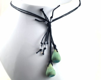 Beaded Teardrop Necklace on Waxed Cotton Cord Handmade Jewellery Mint Aqua Ceramic Beads and Faceted Glass beads