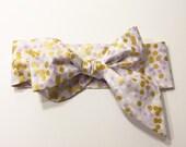 Fabric Bow Headwrap - Lavender and Metallic Gold Polka Dots - Infant Headband - Fabric Headband Baby Headband Toddler Headband Gold Metallic