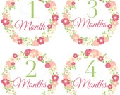 Monthly Stickers for Girls - Vintage Floral Wreath- Months 1 to 12 - Etsykids Team - Babys First Year - Months 1-12 - Milestone Stickers