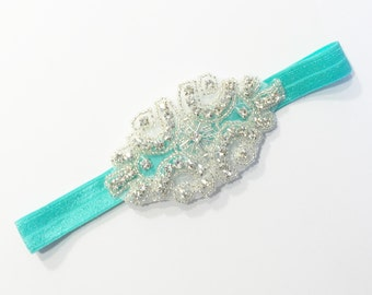 Diamond Headband - Aqua - Statement Piece Headband - Baby Headband - Flower Girl Headband - Baby Photography - Sparkle Headband