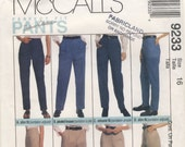 McCalls 9233  Misses Pants, Trousers, Jeans Perfect Fit Pattern Size 16