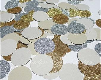 Gold & Silver Glitter, Party Confetti, Grey, Latte, Modern Wedding Decor, Bridal Shower, Birthday Table Scatter, Dessert Table 200 Piece