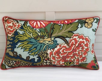 Schumacher Chiang Mai Dragon in Aquamarine (on Both Sides) with Orange Piping 14x24 Lumbar Designer Pillow Cover